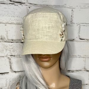 Grace Hats Linen/Cotton Floral Hard Brim Hat
